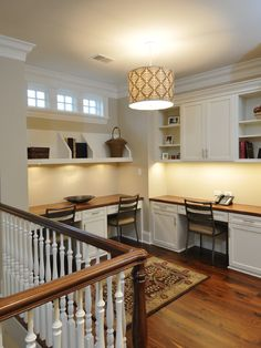 Multiple desks in your home office. This is a great idea for more work space for you and your family.