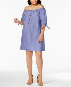 Love Squared Trendy Plus Size Off-The-Shoulder Shift Dress