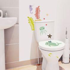 Animalitos acuáticos de vinilo para decorar en el baño. Pulpo, peces, algas, estrellas y caballitos de mar que darán un toque alegre a las paredes, lavabo e inodoro.