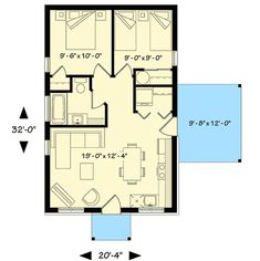 Two Bedroom Tiny Cottage - floor plan - Main Level - add 5 ft to each side to bring to side by side the laundry instead of stacked, side door from master to bath, bigger master closet, add bar to kitchen instead of table. Two Bedroom Tiny House, 2 Bedroom House Plans, 20x30 House Plans, Small House Floor Plans, Cabin Floor Plans, Tiny Cottage Floor Plans, Bedroom Layouts, House Layouts, Tiny House Mobile
