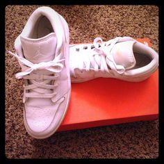 White Nike Air Jordan size 7Y White Nike Air Jordan 23 authentic shoes. Only worn for one week. Size 7 Nike Shoes Sneakers