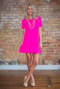 Online boutique. Best outfits. Scallop Me Up Dress Neon Pink