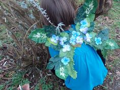 Woodland Fairy Wings with Green Leaves and Blue Flowers, Childern's Fairy Wings, Forest Fairy Costume, Elf Costume, Festival Wings
