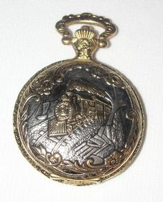 Vtg Timber Creek Railroad Train Engine Pocket Watch Second Hand Ornate Flowers #TimberCreek   ..... We are TOP RATED * POWER Sellers on EBAY * Selling WORLDWIDE. Visit us at our EBAY STORE * 4COOLSTUFF2BUY with any questions or items for sale.