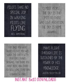 4 8x10 digital downloads for only $5! These would make the PERFECT gift for that special pilot/aviator in your life! #TwoCatsDecorations #Pilot #Aviation #Flight #Flying #Quotes #DigitalDownload #InstantDownload #Printable