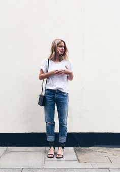 Céline trio bag, Citizens of Humanity denim & tee & Isabel Marant jaeryn sandals. Via Mija