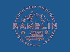 Keep On Ramblin' emblem logo design Logo Branding, Typography Logo, Typography Design, Lettering, Branding Ideas, Www Logo, Logo Simple, Badge Design, Vintage Branding