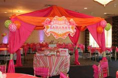 Gorgeous pink and orange circus party!  See more party ideas at CatchMyParty.com!  #partyideas #circus