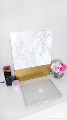 DIY Marble and Gold Canvas Wall Art | a sweet afternoon
