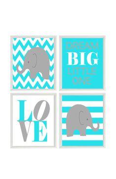 Nursery Art Elephant Baby Boy Nursery Prints by RizzleandRugee