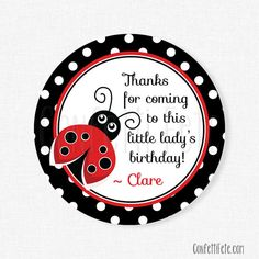Ladybug Favor Tags Red and Black by ConfettiFete