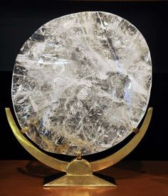 """Sun Disc"" Quartz Carved with Custom Stand (Brazil) / Sacred Spaces <3"