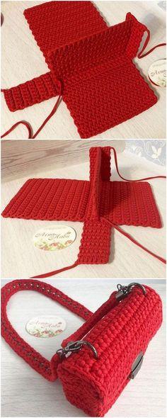 Best crochet bags and baskets designs - Golnaz khaksar - best crochet bags and baskets, Category bag rope Free Crochet Bag, Crochet Market Bag, Diy Crochet, Crochet Crafts, Crochet Baby, Modern Crochet, Crochet Granny, Crochet Ideas, Crochet Handbags