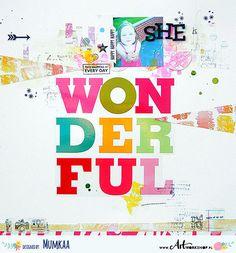 Witajcie! Dzis mam dla Was kolorowy layout ze zdjeciem mojej coreczki - Oli. W rolach glownych - duza naklejka od me & my BIG ideas oraz dodatki i stemple od Heidi Swapp. Wszystkie materialy sa dost