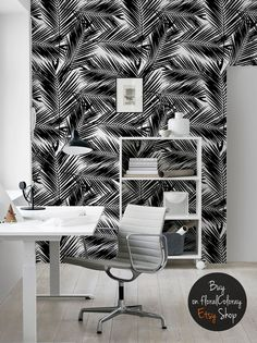 Dark palm tree leaves wallpaper || Black and white || Tropical and exotic || Reusable wall mural #71