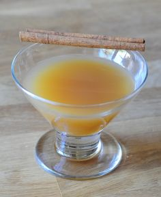 Gin and Apple Cider    2 oz. Gin  2 oz. Apple Cider  1/2 oz. Lemon Juice  1/2 oz. Simple Syrup  2 Dash of Bitters    Pour all of the ingredients into an ice filled shaker. Shake and strain into a chilled cocktail glass. Garnish with grated cinnamon
