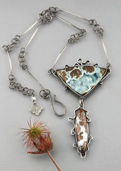 Handmade Sterling Silver Necklace with Sparkly Hemimorphite Drusy and Texas Dendritic Agate