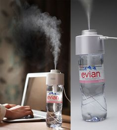Portable Amazing Humidifier uses a bottle of water to humidify your room.