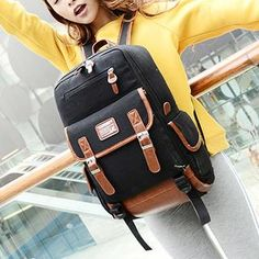 Buy 'Miss Sweety – Faux-Leather-Trim Appliqué Canvas Backpack' with Free International Shipping at YesStyle.com. Browse and shop for thousands of Asian fashion items from Taiwan and more!
