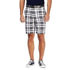 Men's Haggar® Cool 18® Flat-Front Plaid Shorts, Size: 40, White