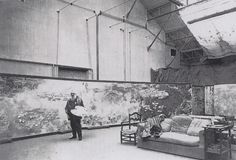 "Claude Monet working on ""Water Lillies"" in his third atelier, 1923"