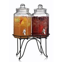 Home Essentials Del Sol Hammered Glass Double Drink Dispenser on Stand  put your laundry soap and fabric softener in these !