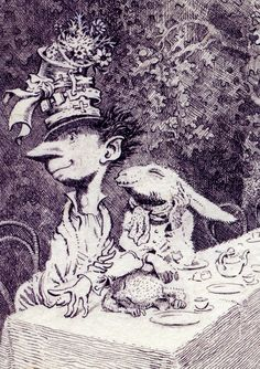 Lewis Carroll's 'Alice Through the Looking Glass' and 'Alice in Wonderland' illustrated by Mervyn Peake 1945 - The British Library: Lewis Carroll, Gravure Illustration, Children's Book Illustration, Alice In Wonderland Party, Adventures In Wonderland, Alice In Wonderland Illustrations, Inspiration Artistique, Chesire Cat, Mad Hatter Tea