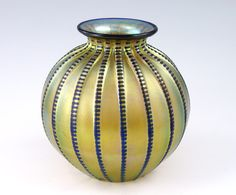 #Tiffany  --  Favrile Glass Zipper Vase  Early 20th Century  --  Via Burchard Galleries.