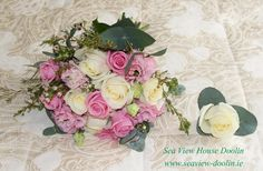 Pink and Cream rose wedding bouquet