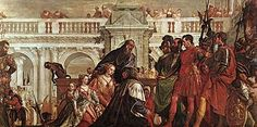 The Family of Darius at the feet of Alexander Paolo Veronese 1565-67. National Gallery, London. Alexander and Hephaestion visit the Royal Family of Darius III of Persia prisoner - Paolo Veronese