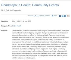 Due May 2, 2012 Roadmaps to Health Community Grants up to two hundred thousand dollars