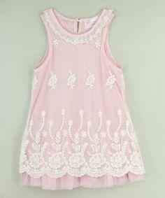 Pink & White Lace Flower Dress - Toddler & Girls