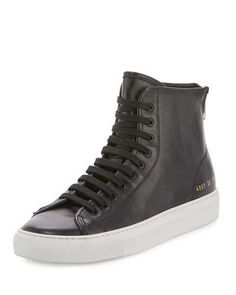 X3A29 Common Projects Tournament Leather High-Top Sneaker, Black