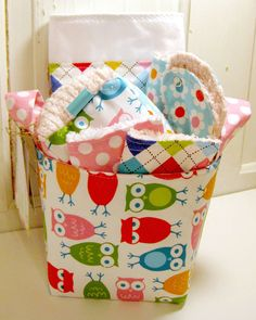 I'm A Hoot in Bright Baby Girl Gift Basket---- Burp Cloth, Bib, Rattle Block, Wash Cloth Set and Fabric Basket by EmmaGirlDesigns on Etsy https://www.etsy.com/listing/70711822/im-a-hoot-in-bright-baby-girl-gift