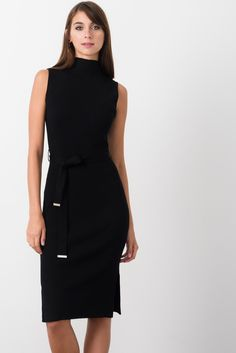 ribbed sleeveless knit dress with side splits and self belt
