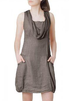 CASPAR Damen elegantes leichtes Sommerkleid aus Leinen mit Seidenkragen - viele Farben - SKL002, Farbe:khaki;Größe:L