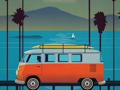 Dribbble - Vintage Malibu Poster by Alex Asfour