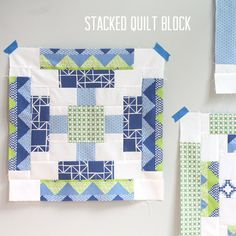 Stacked Quilt Block tutorial from The Long Thread, using Quilt Blocks fabric from Moda.