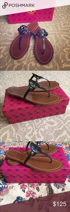 Tory Burch Mini Miller Sandals in black, size 10 Brand new in box! Tory Burch Shoes Sandals
