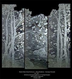 Etched Aspen Tree Shower Doors