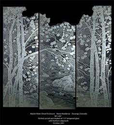 Etched Aspen Tree Shower Doors
