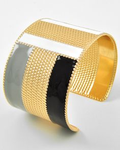 Gold Tone Metal / Black & White Epoxy / Lead Compliant / Cuff Bracelet