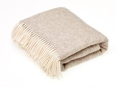 NATURAL COLLECTION - Pure new wool throw - Natural Herringbone