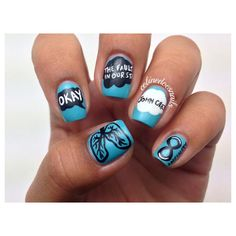 This Nail Art Will Make You 'Okay' After 'The Fault In Our Stars' ❤ liked on Polyvore featuring nails, nail polish and tfios