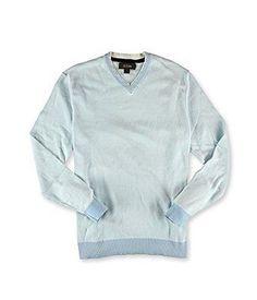 Tasso Elba Mens Knit V Neck Pullover Sweater Porcelainblue M $70
