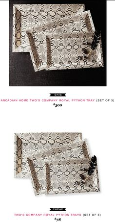 Arcadian Home Two's Company Royal Python Tray (Set of 3) $300  -vs-  Two's Company Royal Phython Trays (Set of 3) $78
