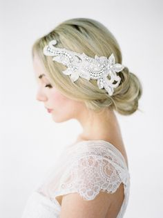 Beaded wedding headpiece |  http://www.percyhandmade.com/