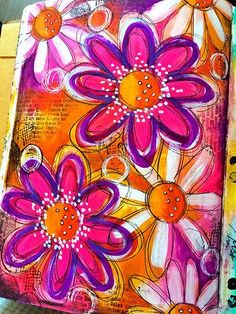 Paint and doodled flowers art journal page | Flickr - Photo Sharing!