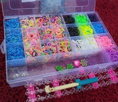 Large Box of 5000 Friendship Colourful Loom Bands Latex Free Rubber Bandz Bracelet Making Kit Set,5000pc Loom Bands,1 Loom Board,2 Hooks,6 Random Charms,50 S-Clips Best On Amazon by funkybuys®, http://www.amazon.co.uk/dp/B00L97U1K2/ref=cm_sw_r_pi_dp_H.DQtb104B4SB