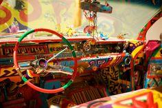 Interior of Hippie VW bus Van Hippie, Kombi Hippie, Hippie Car, Hippie Vibes, Volkswagen, Vw T1, Combi Vw T2, American Graffiti, Kombi Trailer